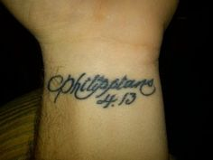 Philippians 4:13 wrist tattoo... I really want this (minus the arm hair of course) but in a different font.