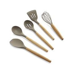 Designed with matte grey silicone heads and rounded handles of warm bamboo, these handsome kitchen utensils are ideal for all prep and cooking tasks.