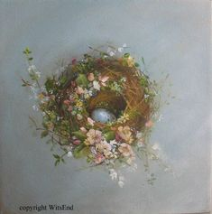 "'The Wildflower Nest""  painting original bird nest and flowers by 4WitsEnd, via Etsy:"