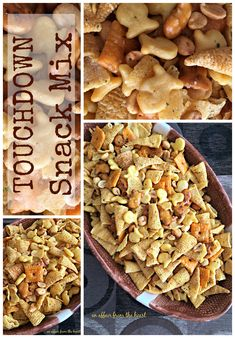 Touchdown Snack Mix - An Affair from the Heart -- You've got a new favorite snack mix! This one is so buttery and yummy you won't be able to leave it alone! Made with popcorn oil, ranch seasoning and (Ranch Party Mix) Trail Mix Recipes, Snack Mix Recipes, Tailgating Recipes, Tailgate Food, Appetizer Recipes, Appetizers, Snack Mixes, Appetizer Ideas, Fall Recipes