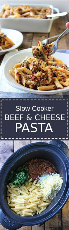 Slow Cooker Beef and Cheese Pasta - A slow cooker beef and cheese pasta that is cooked long and slow to bring out the best cheesy meat sauces - Ingredients Meat 2 lb Ground beef lean Produce 1 tsp Basil 1 tsp Garlic 1 tsp Oregano 10 oz Spinach froz Crockpot Dishes, Crock Pot Slow Cooker, Crock Pot Cooking, Slow Cooker Recipes, Crockpot Recipes, Cooking Recipes, Healthy Recipes, Slow Cooker Pasta, Beef Pasta
