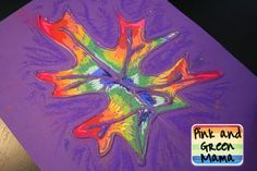 If you draw a picture with glue on construction paper  and let it dry, you can color over it with chalk or chalk pastels and  it will create a stained glass effect.