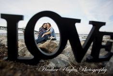 Beautiful Yorktown beach engagement portrait by Heather Hughes Photography framed with Love ;)