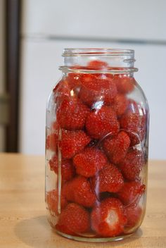 Canning Strawberries. Why oh why wouldn't you??? •strawberries • 1/2c sugar •water •bell or mason jar