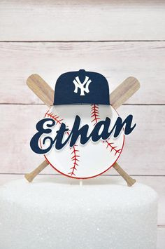 Baseball Cake Topper with Name / Ball and Bat theme layered Cake Decoration / Personalized / Party Cake decor / baseball cap - Cake Decorating Cupcake Ideen First Birthday Parties, Birthday Party Themes, First Birthdays, Theme Parties, Birthday Ideas, Baseball Theme Birthday, Boy Birthday, Sports Birthday, Sports Party