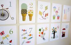 Number Nursery Art Print, Kids Wall Art, Flash Cards, Set of 10 5x7 Cards, Children's Art, Number Art, Children Decor, Baby Art, Wall Cards