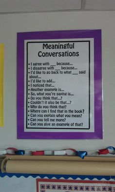 Meaningful Conversations poster from Dr. TNo's classroom