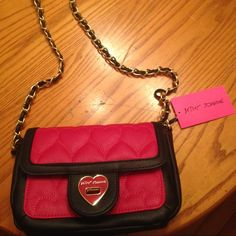 Betsey Johnson be mine fushia turn lock flap xbody This is a brand new with tag Betsey Johnson fushia and black turnlock crossbody. One zipper pocket inside, and a chain link strap. Betsey Johnson Bags Crossbody Bags