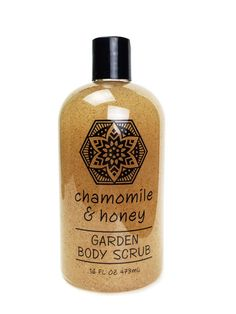 Chamomile Honey Garden Body Scrub by Greenwich Bay Trading Company.  Luxurious body scrub enriched with shea butter, cocoa butter, virgin olive oil, grapeseed oil & golden honey and blended with exfoliating loofah, oatmeal & chamomile petals