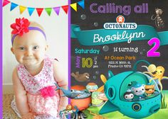 Octonauts Birthday Invitation Invite with Picture Photo Pic Chalkboard Custom 5x7 Party
