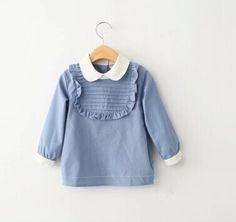 2015 nova primavera da Coréia Do estilo outono bebê meninas rendas plissado blusa boutique menina azul manga longa all match tops em Blusas & Camisas de Mãe & Kids no AliExpress.com | Alibaba Group