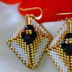 White & Gold Geometric Earrings w/ Jet Black Swarovski