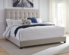 Dolante Upholstered Bed Frame Serenity now. This Queen upholstered bed is sure to awaken a love for modern platform styling with a softer side. Plush to the touch and so easy on the eyes, a pale beige fabric hugs the bed—from the chic headboard with squa Bedroom Sets, Home Decor Bedroom, Bedroom Furniture, Bedding Sets, Aqua Bedding, Queen Bedding, Furniture Sale, Bedroom Radiators, Satin Bedding