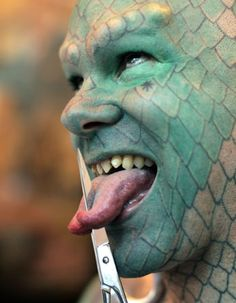 The Lizard Man....his RV was parked next to mine in an RV park in Jersey City for 2 days once. He's very interesting to look at.