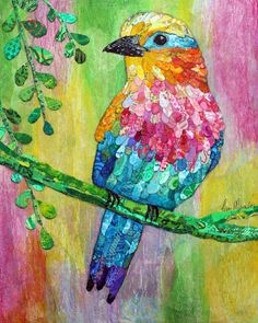 PRINT Liliac Breasted Roller Mixed Media by apinchofwonderful Artist is Lisa Morales.