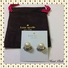 """Kate Spade Pearl & Crystal Studs Darling earrings for dress or casual wear. Faux pears, gold plated metal. 14-karat gold filled posts. Width 1/2"""", drop 1/2"""" Includes dust bag.  PayPal  Trades  Holds kate spade Jewelry Earrings"""