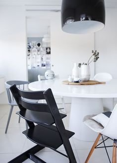 """""""The Stokke Tripp Trapp is not your average highchair. When it debuted in 1972, it was the first-of-its-kind to boast long-lasting and ergonomic as two of its key features. And when we say long-lasting, we mean it—babies can securely and comfortably sit in the Tripp Trapp at six months (with baby set) and use the chair for life!"""" via Project Nursery"""