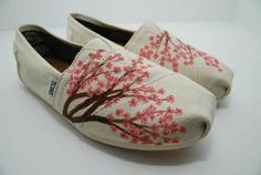 Want these!  Cherry Blossom CUSTOM TOMS SHOES by KellismCo on Etsy