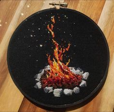 Everything is embroidery ( Hand Embroidery Stitches, Embroidery Hoop Art, Hand Embroidery Designs, Cross Stitch Embroidery, Simple Embroidery, Learn Embroidery, Fabric Art, Camp Fire, Camping Activities