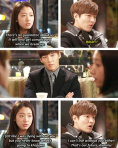 Kim Tan, Jin Hyuk and Cha Eun Sang ♡Won wishes he could do what Tan is doing for Eun Sang Heirs Korean Drama, Korean Drama Funny, Korean Drama Stars, Korean Drama Quotes, Korean Star, The Heirs, Korean Dramas, Playful Kiss, Lee Min Ho