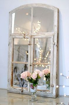 Shabby chic mirror with roses & fairy lights