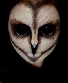 halloween-schminke-ideen-eule-gesicht-make-up #facepaintingideas