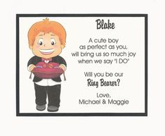 Items similar to REDHEAD - Will you be my Ring Bearer Flat card - Personalized custom on Etsy Gender Reveal Box, Bridal Party Invitations, Baby Shower Tags, Ring Bearer, Hang Tags, Baby Elephant, Cute Boys, Flat, Handmade Gifts