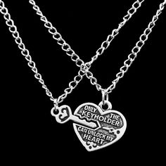 - Material: Zinc Alloy (non-irritating and environmentally safe) - Colors: Silver - Pendant Length: 50cm - Pendant Size: Heart (1.8cm), Key (1.5cm*0.7cm) - This item is NOT available in stores. - Guar