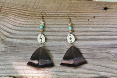 This truly unique set of earrings are made to showcase the natural beauty of the iridescent Eastern Wild Turkey feather. Above the feather