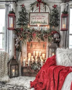 Here are the Christmas Fireplace Decor Ideas. This post about Christmas Fireplace Decor Ideas was. Christmas Decorations For The Home, Farmhouse Christmas Decor, Christmas Mantels, Cozy Christmas, Outdoor Christmas, First Christmas, Xmas Decorations, Christmas Staircase, White Christmas