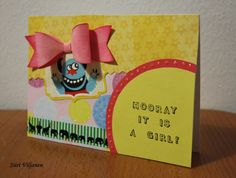 Baby card with paper ribbon - Made by Siiri Viljanen, blog Käsitöitä flamencohame hulmuten (also in English)