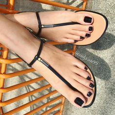 "Yonibonbon: ""(must love feet) must love black nail polish. Pretty Sandals, Sexy Sandals, Cute Sandals, T Strap Sandals, Nice Toes, Pretty Toes, Feet Soles, Women's Feet, Pies Sexy"