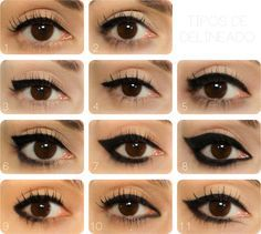 Ideas on how a basic eyeliner can be applied from a fine thin line to a thicker, more defined look. #MakeUp #CrouchEnd – Beauty Works London