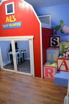 Stylish Eve DIY Projects: Build a Playhouse Loft Bed for Your Child - Stylish Eve Toy Story Nursery, Toy Story Bedroom, Kids Bedroom, Bedroom Ideas, Room Kids, Childrens Bedroom, Toy Story Bedding, Nursery Art, Playhouse Loft Bed