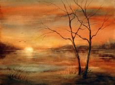 Karlyn Holman Paintings | golden sunset over pond with two trees in foreground