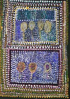 Bush Tucker in Nyikina Country, Loongkoonan, courtesy of Mossenson Galleries. Indigenous Australian Art, Indigenous Art, Australian Artists, Aboriginal Dot Painting, Aboriginal Artists, Aboriginal Culture, Types Of Art, Type Art, Outsider Art