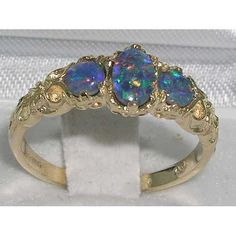 English 9K Yellow Gold Genuine Blue Opal Triplet Promise Ring, Vintage Style 3 Stone Trilogy Band - Customize:10K,14K,18K Gold