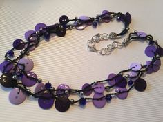 Purple Button Necklace by BornAgainButtons on Etsy