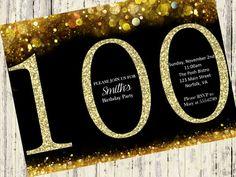 100th Birthday Invitation, Gold Glitter Birthday Party Invite, Women's 100th Surprise Birthday, Elegant, Printable Digital DIY