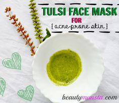 Make an antiseptic tulsi face mask for acne using just two ingredients! Tulsi contains antibacterial, anti-inflammatory & astringent properties and... #HowToMakePeelMask #CharcoalFaceMaskRecipe #CleansingMask Lip Gloss Homemade, Sugar Scrub Homemade, Homemade Moisturizer, Homemade Acne Treatment, Natural Acne Treatment, Mask For Oily Skin, Skin Mask, Cucumber Face Mask, Honey Face Mask