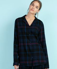 Navy checked T-shirt - OYSHO