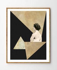 Mirage - Art Deco, Mixed Media Collage Art, Vintage Photo Woman, Geometric Print, Geometry, Vintage Art, Minimalist Art, Home Decor by StellaireStudio on Etsy https://www.etsy.com/listing/224057350/mirage-art-deco-mixed-media-collage-art