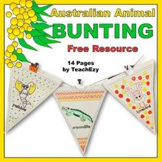 This resource includes 14 Australian animals that can be coloured and strung across the classroom. A great way to introduce our animal population. Animal Activities, Animal Crafts, Activities For Kids, K Crafts, Crafts For Kids, Arts And Crafts, Classroom Bunting, Classroom Decor, Australia Animals
