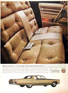1968 Cadillac Sedan de Ville vintage ad. Photographed in vivid color with interior view of the Fleetwood Brougham.