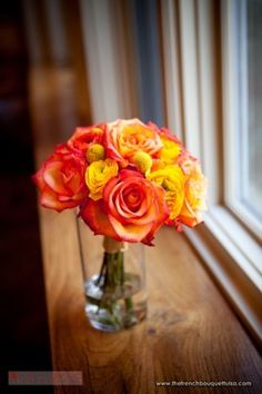 Bright Orange and Yellow Bouquet with Billy Buttons - The French Bouquet - Zinke Design - Ace Cuervo Photography