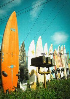 Orange surfboard fence mailbox rural vintage by photobysimone, $30.00