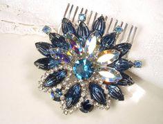 Bridal Hair Comb or Sash Brooch Sapphire Blue Rhinestone Silver Flower Pin or HeadPiece Navy Crystal Vintage Wedding Hair Accessory Haircomb
