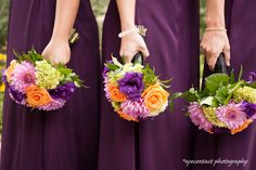 Colourful bridal bouquets: pink, purple and orange! photo: www.eyecontact.ca