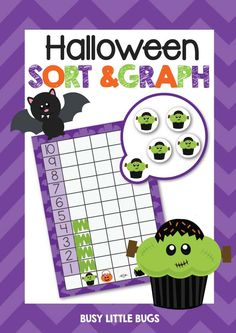 """Lots of fun this Halloween with our """"Halloween Sort & Graph"""" math center fun! #busylittlebugs #halloween #tpt #mathcenters #printables"""
