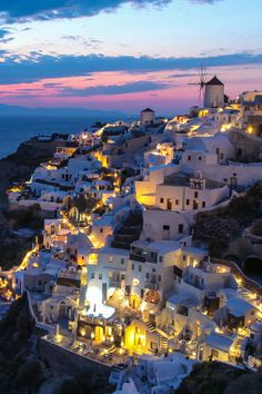 Oia by night, Santorini, Greece